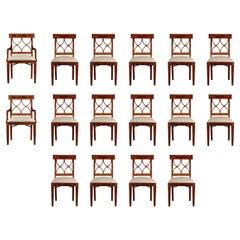 Set of 16 Jonathan Charles Cross Back Dining Chairs