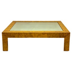 Modern Italian Burlwood and Mirror Coffee Table in the Manner of Milo Baughman