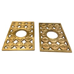 Fabulous Patinated Brass Bronze Door Knob Backplate Set Modern Op Art Design 60s