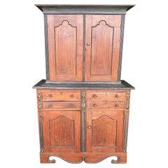19th Century Ceylonese East Indies Jackwood & Ebony 4 Door Press with 4 Drawers