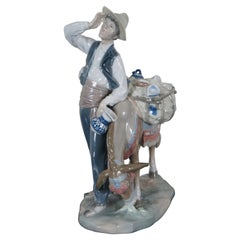 Lladro #4859 Typical Peddler with Donkey Retired Porcelain Figurine
