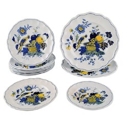 Spode, England, 10 Blue Bird Plates in Hand-Painted Porcelain, 1930s / 40s