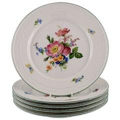 KPM, Berlin, Five Antique Porcelain Plates with Hand-Painted Flowers
