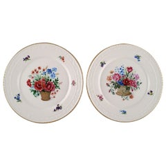 Kpm, Berlin, Two Antique Porcelain Plates with Hand-Painted Flower Baskets
