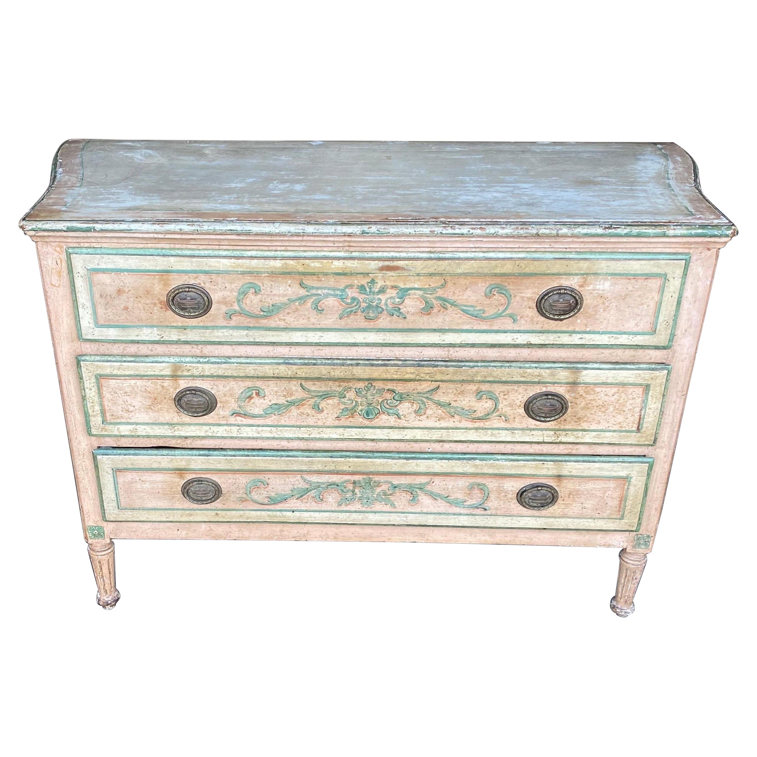19th Century Painted Polychrome Venetian 3 Drawer Commode