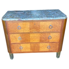 French Art Deco Marble Top 3 Drawer Chest