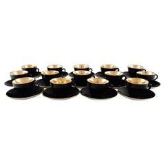 14 Royal Copenhagen / Aluminia Confetti Coffee Cups with Saucers