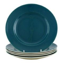 Five Royal Copenhagen / Aluminia Confetti Plates in Turquoise Glazed Faience