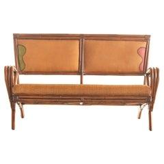 Bamboo Rattan Handmade Ramon Castellano Painted Leather Sofa Kalma Furniture