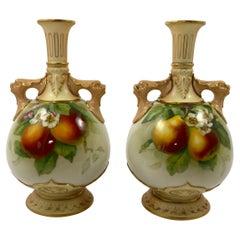 Pair Royal Worcester Porcelain Vases, Fruit, Signed F. Harper, D. 1906