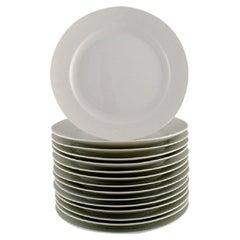 Royal Copenhagen, Salto Service, White, 15 Dinner Plates, 1960s/70s