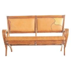 Bamboo Rattan Handmade Ramon Castellano Painted Wicker Seat Sofa Kalma Furniture