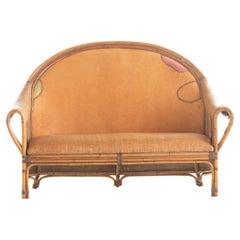 Sofa Bamboo Rattan Wood Painted Leather Ramon Castellano Spanish Kalma Furniture