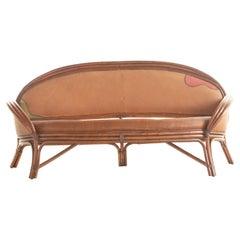 Bamboo Rattan Carved Color Leather Curve Sofa Ramon Castellano Kalma Furniture