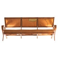 Handmade Indoors Outdoors Big Leather Wood Bamboo Rattan Sofa Kalma Furniture