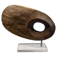 Modern Abstract Disc Sculpture Carved Wood on Lucite Base 1970s Mexico City