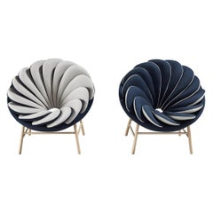 A Set of 2 Quetzal Armchairs, Gray and Blue by Marc Venot