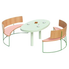 Set of 2 Boomerang Benches, Pink by Cardeoli