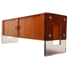 Rosewood Sideboard with Sliding Doors and Lucite Sideparts, Denmark 1960
