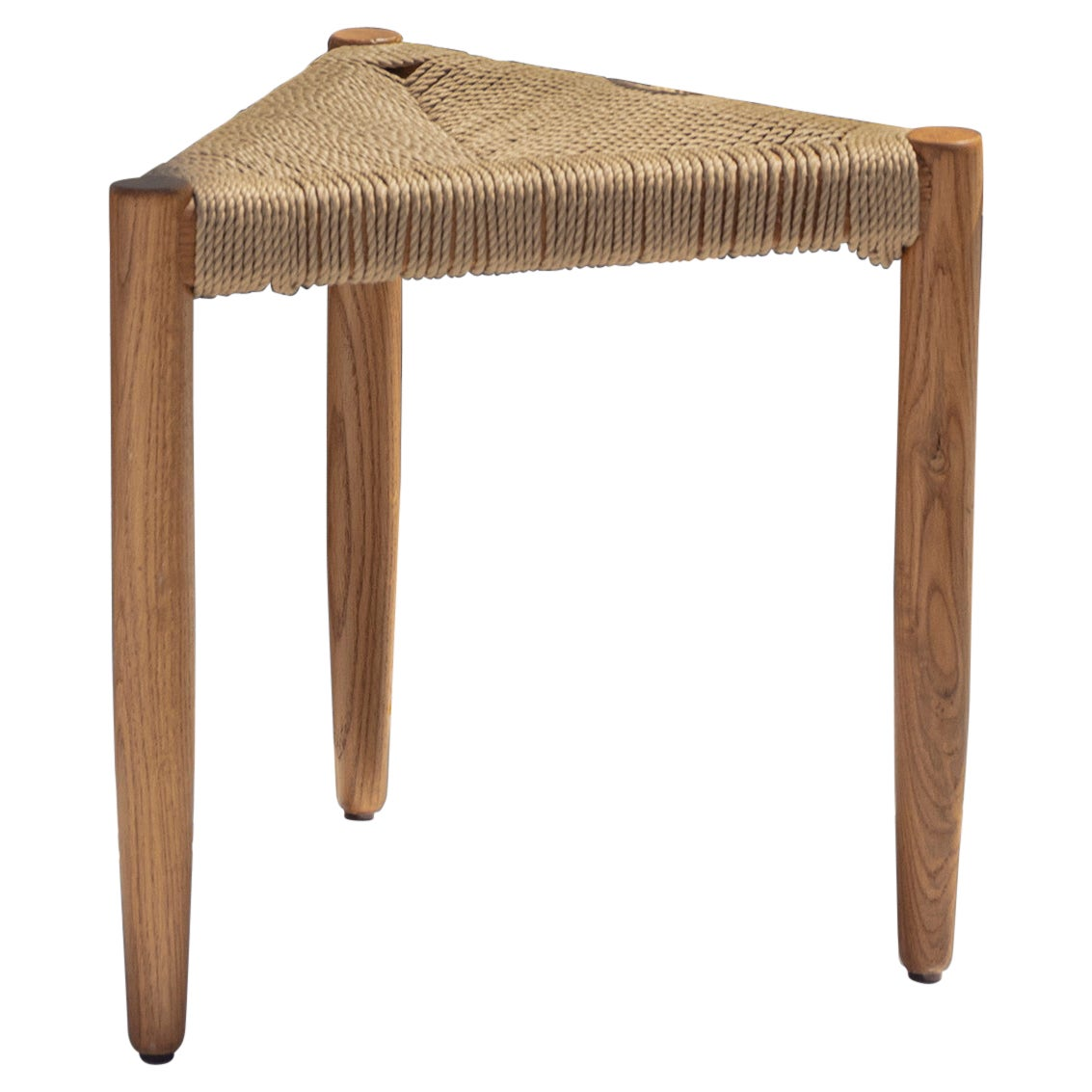 """Contemporary Handcrafted Solid Wood and Rope Tripod Stool """"Yiaros"""" by Anaktae"""