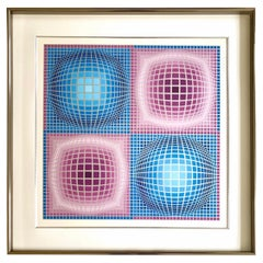 Victor Vasarely Pencil Signed and Numbered Silk Serigraph