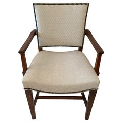 Versatile Walnut and Cream Upholstered Armchair with Nailheads