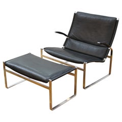 Modern Chrome Lounge Chair & Ottoman in Leather