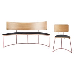 Set of Boomerang Bench & Chair, Black by Cardeoli