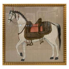 Striking Chinese Tang Horse Painting on Champagne Silk