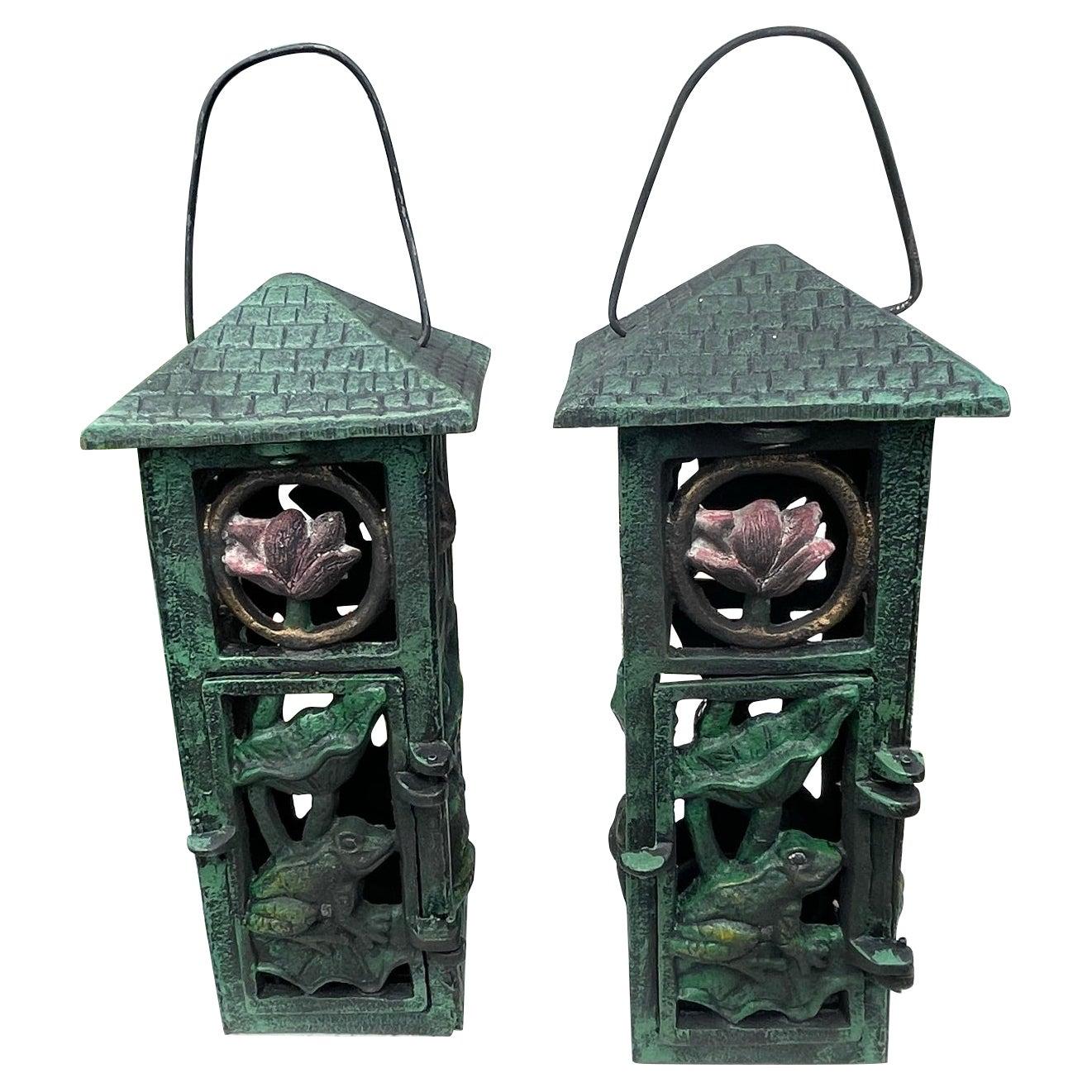 """Japanese Pair Art Nouveau """"Frog & Orchid"""" Garden Lanterns"""