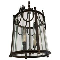 Impressive Neoclassical Patinated Bronze & Glass Pendant Chandelier Lantern
