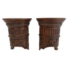 Pair of Classical Carved Wood Corinthian Column Motife Wall Brackets