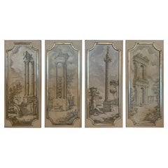 Magical Set of 4 Neoclassical Panels with Silver Gilt Frames
