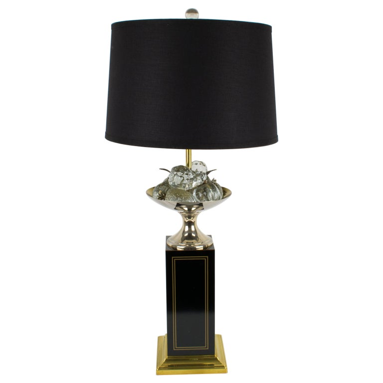 Maison Charles 1960s Black Enamel and Crystal Fruits Table Lamp  For Sale
