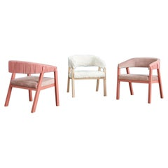 Set of 3 Oslo Armchairs, Arctic Fox Throw & Pink by Pepe Albargues