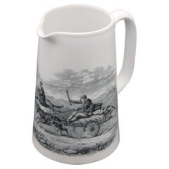 """English Rare Copeland Ironstone Large Pitcher """"Going to the Derby"""" 1867 to 1890"""