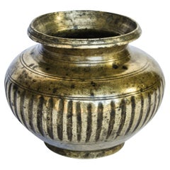 Vintage Bronze Ritual Libation Pot or Lota from Nepal, Early to Mid 20th Century
