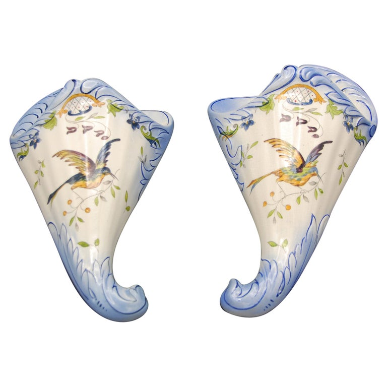 French 19th Century Pair of Longchamp Faience Hand Painted Wall Pockets