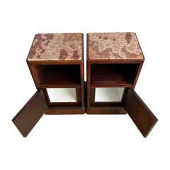 Stunning Art Deco Nutwood Nightstands / Bedside Tables with Porcelain Interiors