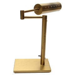 Walter Von Nessen Brass Swing Arm Table Lamp with Adjustable Cylindrical Shade