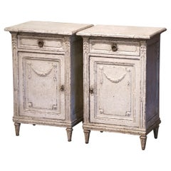 Pair of 19th Century French Louis XVI Painted Nightstands Bedside Tables