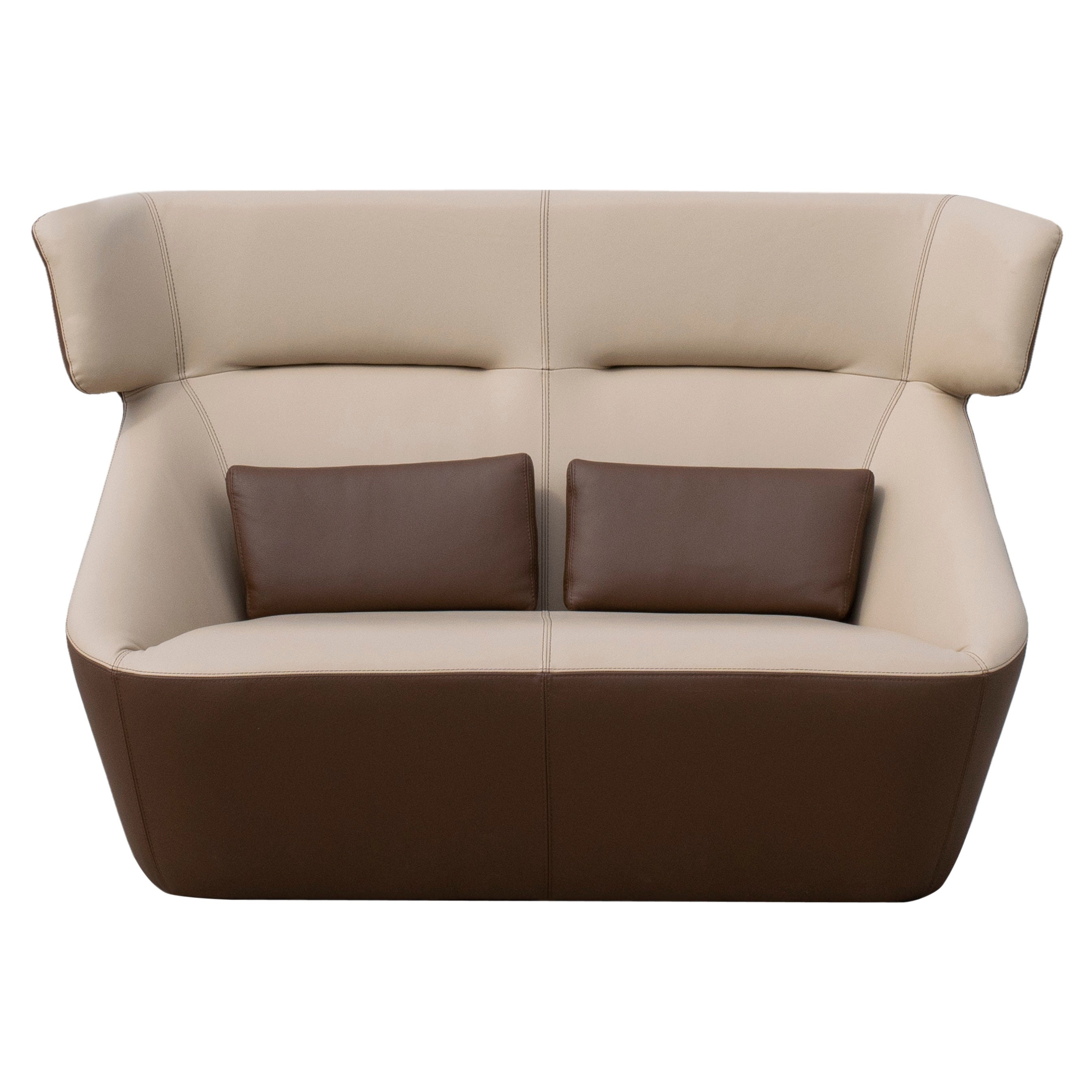 Prince Spencer Sofa V2 with Two-Tone (Beige-Brown) Italian Leather Upholstery