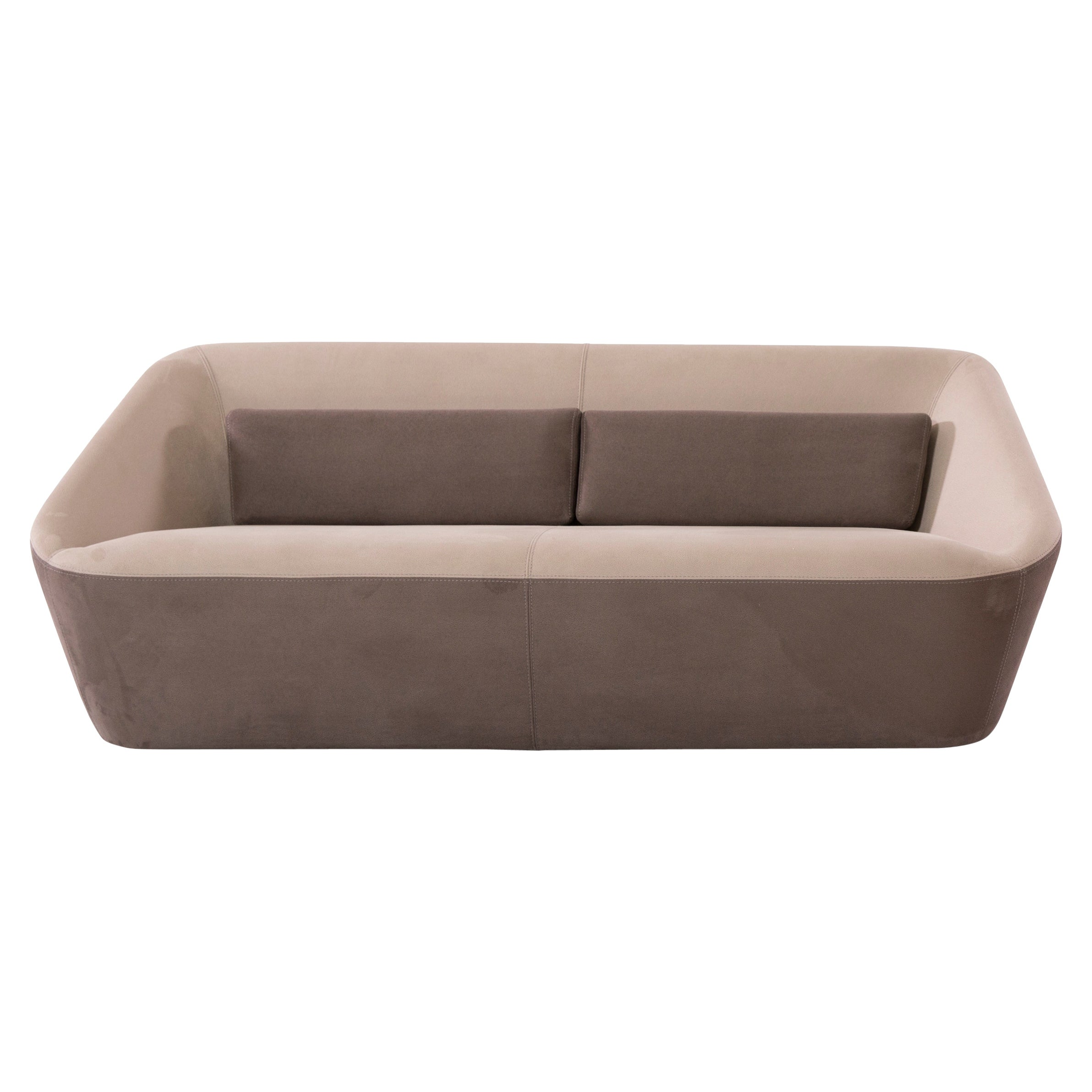 Prince Spencer Sofa V1 '2-Seater' with Two-Tone (Tan-Brown) Fabric Upholstery