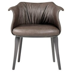 """Amphora Dining Chair in """"Antique"""" Italian Leather Upholstery and Grey Wood Base"""
