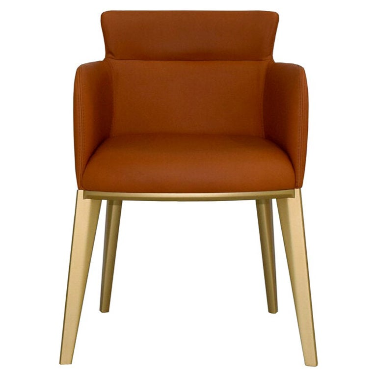Maiorca Dining Chair in Dark Orange Italian Leather Upholstery & Gold Wood Base