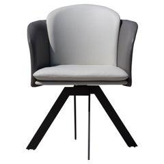 Amorino Dining Chair | Two-Tone (White-Grey) Italian Leather & Dark Grey Base