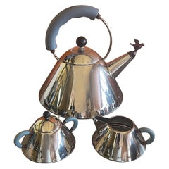 Postmodern Tea Kettle with Cream & Sugar by Michael Graves for Alessi