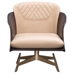 Amorino Armchair with Two-Tone (Beige-Brown) Italian Leather and Gold Metal Base