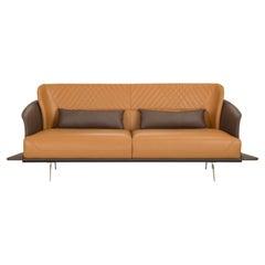 Amorino Sofa with Two-Tone (Brown-Tan) Italian Leather and Gold Metal Base