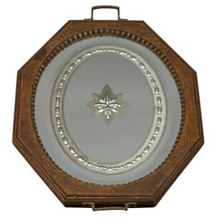 Octagonal Brown Wood Serving Tray with Oval Etched Mirror Base